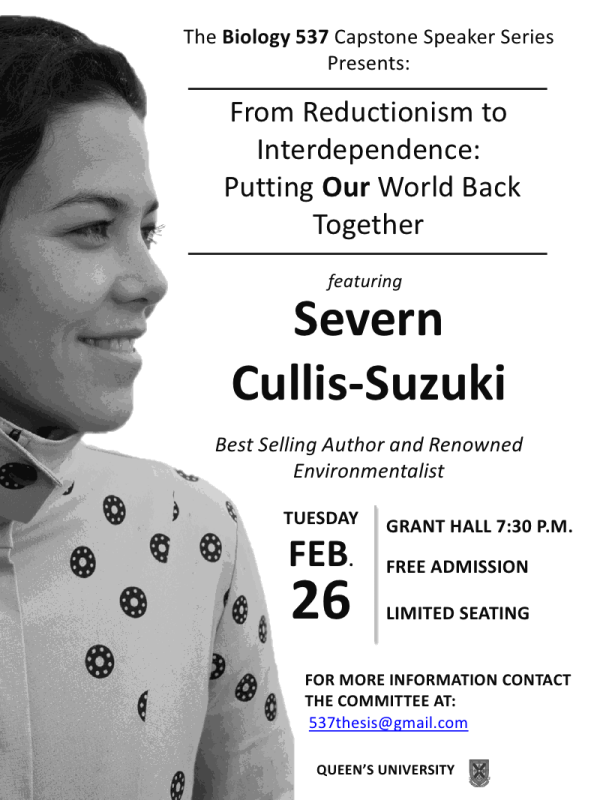 Invitation to the 2013 Capstone Lecture - Severn Cullis-Suzuki